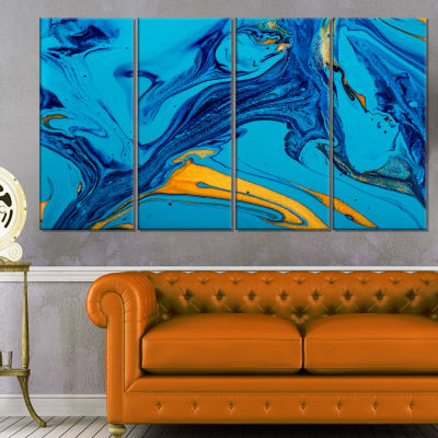 Soft Blue Abstract Acrylic Paint Mix Abstract Arton Canvas - 4 Panels
