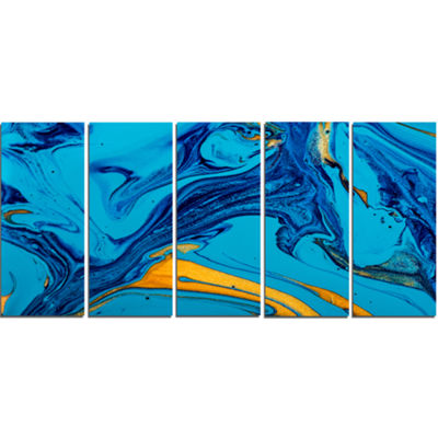 Designart Soft Blue Abstract Acrylic Paint Mix Abstract Arton Canvas - 5 Panels