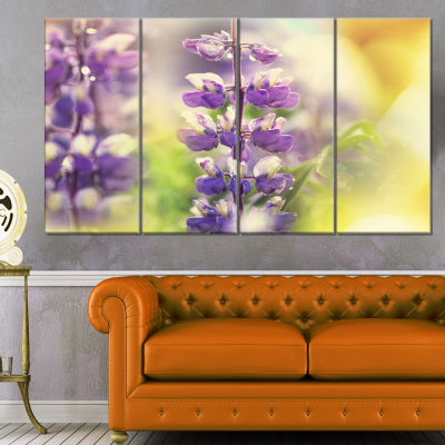 Designart Beautiful Close Up of Blue Lupin FlowersLarge Flower Canvas Art Print - 4 Panels