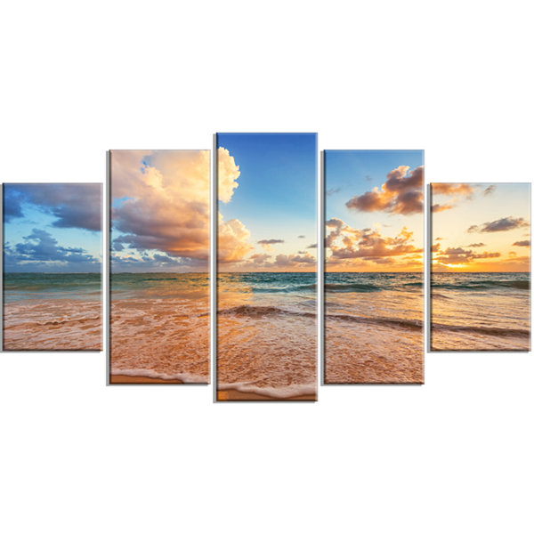 Design Art Beautiful Cloudscape Over Beach Large Beach Wrapped Canvas Wall Art - 5 Panels