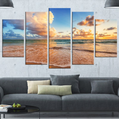 Beautiful Cloudscape Over Beach Large Beach Wrapped Canvas Wall Art - 5 Panels