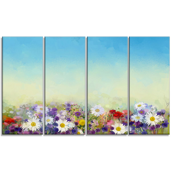 Designart Soft Flowers in Spring Background LargeFloral Wall Art Canvas - 4 Panels