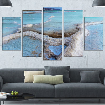 Designart Beautiful Coast of The Dead Sea Large Beach CanvasWall Art - 4 Panels