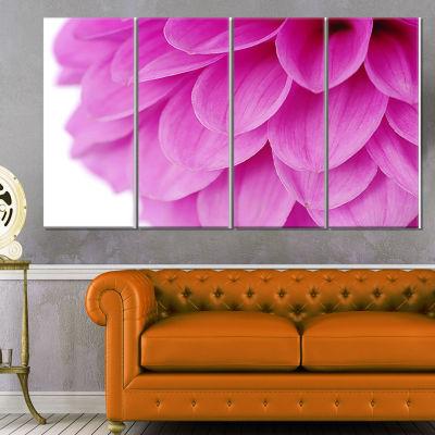 Designart Soft Purple Abstract Flower Petals Floral Canvas Art Print - 4 Panels