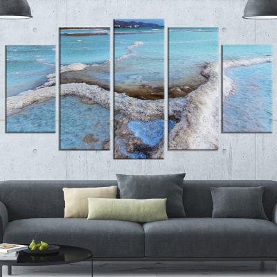 Designart Beautiful Coast of The Dead Sea Large Beach Wrapped Canvas Wall Art - 5 Panels