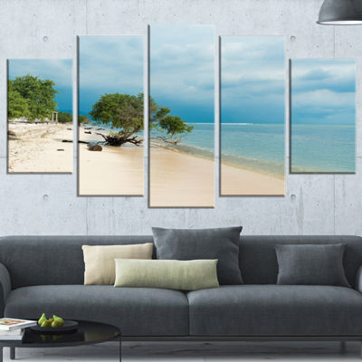 Designart Beautiful Coastline in indonesia ModernSeascape Wrapped Canvas Artwork - 5 Panels