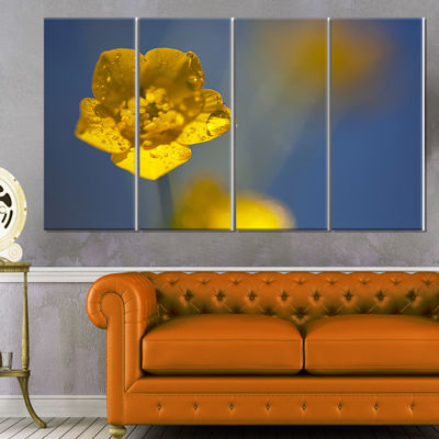 Designart Solitary Large Yellow Flower Floral Canvas Art Print - 4 Panels