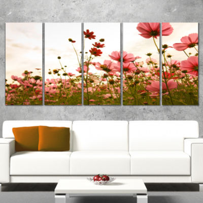 Beautiful Cosmos Flowers Garden Floral Wrapped Canvas Art Print - 5 Panels