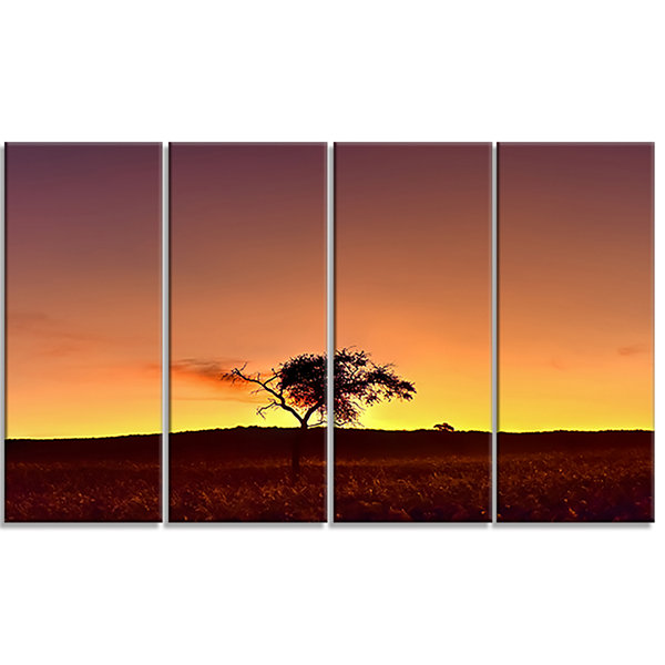 Solitary Tree in Namib Desert African Landscape Canvas Art Print - 4 Panels