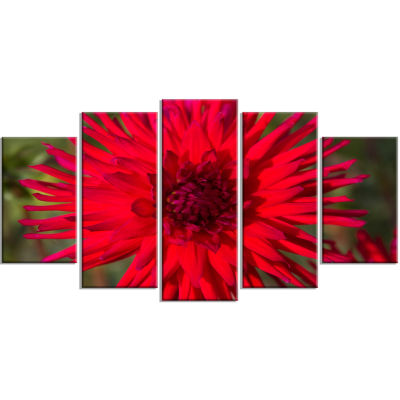 Beautiful Dahlia Flower On Green Flowers Wrapped Canvas Wall Artwork - 5 Panels