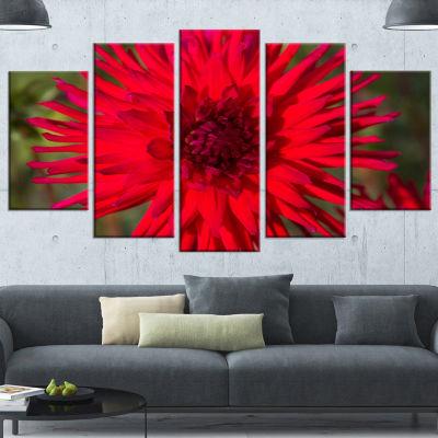 Designart Beautiful Dahlia Flower On Green FlowersCanvas Wall Artwork - 5 Panels