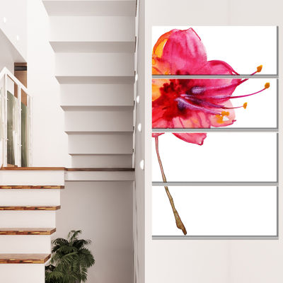 Design Art Beautiful Dual Toned Star Flower LargeFlower Canvas Wall Art - 4 Panels