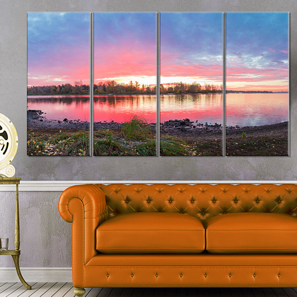 Designart Beautiful Fall Sunrise Over River Landscape Canvas Art Print - 4 Panels