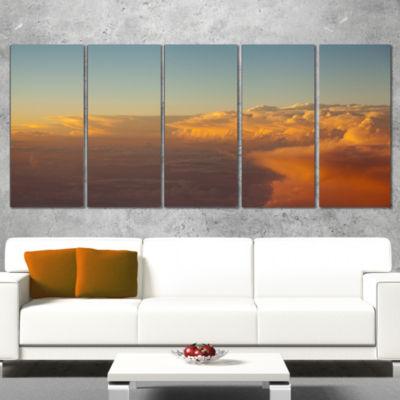 Solotful Sunset in Sky Cloudscape Extra Large Seascape Art Canvas - 4 Panels