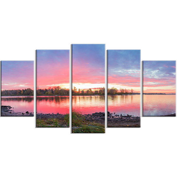 Designart Beautiful Fall Sunrise Over River Landscape Wrapped Canvas Art Print - 5 Panels