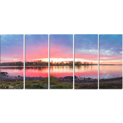 Beautiful Fall Sunrise Over River Landscape CanvasArt Print - 5 Panels
