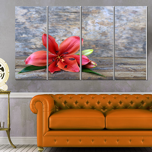 Design Art Beautiful Fallen Red Lily Flower LargeFloral Canvas Artwork - 4 Panels