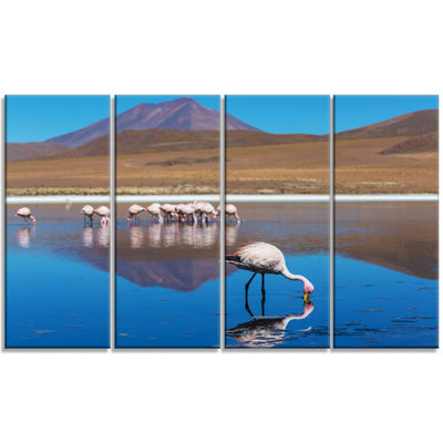 Designart Beautiful Flamingos in Bolivia AfricanLandscape Canvas Art Print - 4 Panels