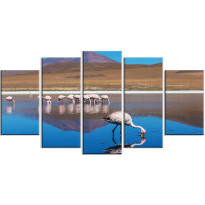 Beautiful Flamingos in Bolivia African Landscape Wrapped Canvas Art Print - 5 Panels