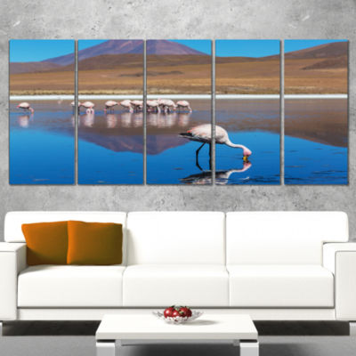 Designart Beautiful Flamingos in Bolivia AfricanLandscape Canvas Art Print - 5 Panels
