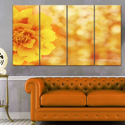 Designart Beautiful Floral Yellow Background LargeFloral Canvas Artwork - 4 Panels