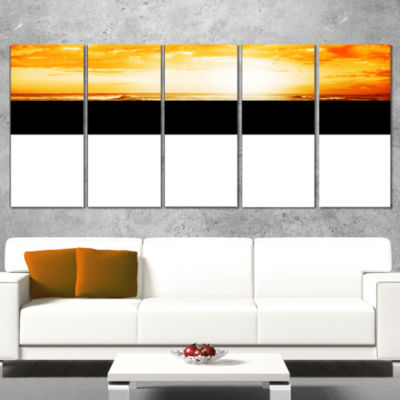 Designart South African Beach at Sunset Beach Photo WrappedPrint - 5 Panels