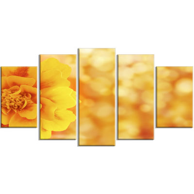 Beautiful Floral Yellow Background Large Floral Wrapped Canvas Artwork - 5 Panels