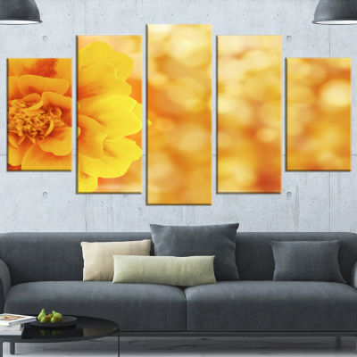 Designart Beautiful Floral Yellow Background LargeFloral Wrapped Canvas Artwork - 5 Panels