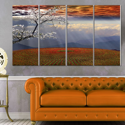 Designart Beautiful Flower Field at Sunset ExtraLarge Landscape Canvas Art - 4 Panels