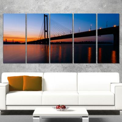 Designart Southern Bridge Panorama in Kiev Cityscape CanvasArt Print - 4 Panels