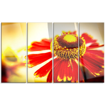 Beautiful Flower On Yellow Background Flower Artwork On Canvas - 4 Panels