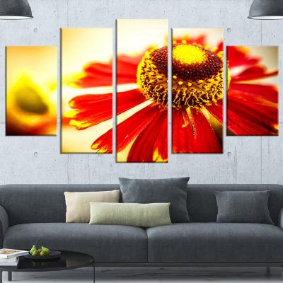 Designart Beautiful Flower On Yellow Background Flower Artwork On Canvas - 5 Panels