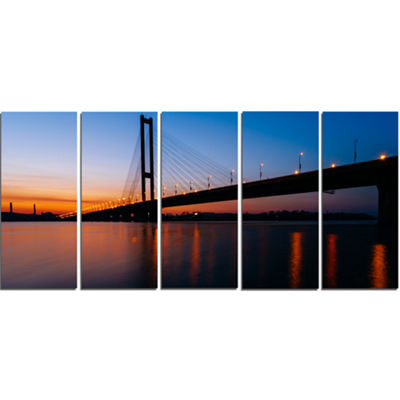 Designart Southern Bridge Panorama in Kiev Cityscape CanvasArt Print - 5 Panels