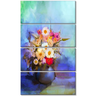 Beautiful Flowers Bouquet On Blue Large Floral Canvas Artwork - 4 Panels