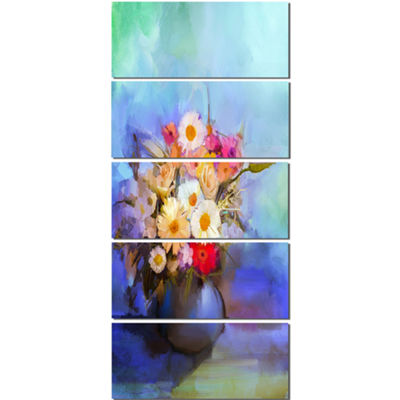 Designart Beautiful Flowers Bouquet On Blue LargeFloral Canvas Artwork - 5 Panels