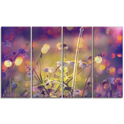 Designart Beautiful Flowers in Meadow Floral ArtCanvas Print - 4 Panels