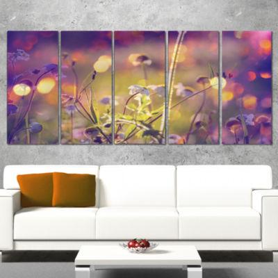 Designart Beautiful Flowers in Meadow Floral ArtCanvas Print - 5 Panels