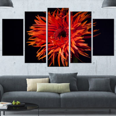 Designart Spider Gerbera Daisy Watercolor FlowersCanvas Wall Artwork - 5 Panels