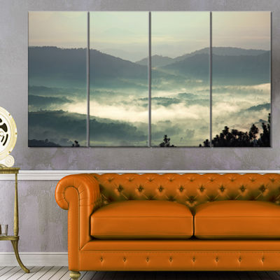 Designart Beautiful Foggy Hills in Sri Lanka BeachPhoto Canvas Print - 4 Panels