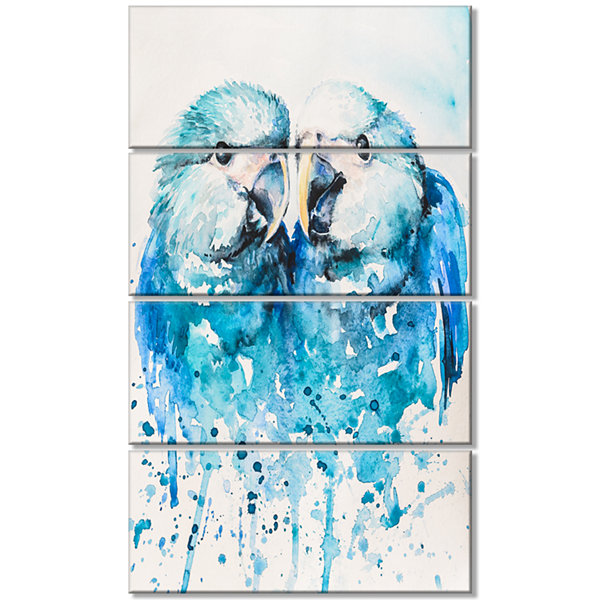 Spix S Macaw Watercolor Abstract Canvas Art Print- 4 Panels