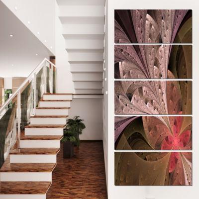 Designart Beautiful Fractal Flower in Beige FloralCanvas Art Print - 4 Panels