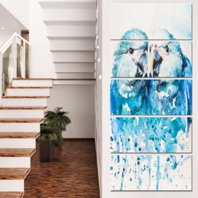 Designart Spix S Macaw Watercolor Abstract CanvasArt Print- 5 Panels