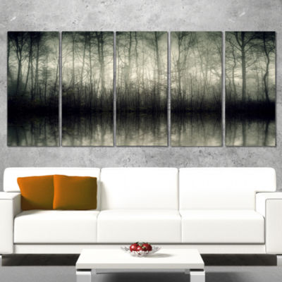 Designart Beautiful Gray Forest in Germany Landscape Photography Canvas Print - 4 Panels