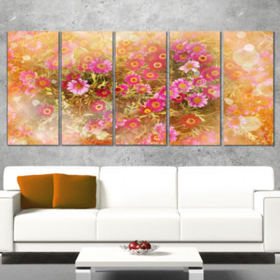 Spring Background with Little Flowers Large FloralCanvas Artwork - 5 Panels