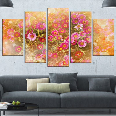 Designart Spring Background with Little Flowers Large FloralCanvas Artwork - 5 Panels