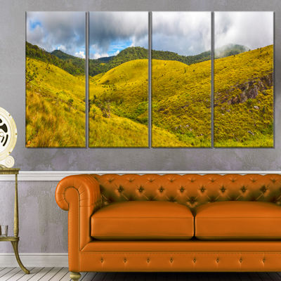 Designart Beautiful Green Horton Plains OversizedLandscapeWall Art Print - 4 Panels