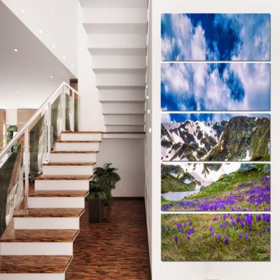 Designart Spring Blooming Crocus Flowers LandscapeCanvas Art Print - 5 Panels