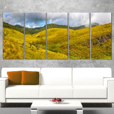 Designart Beautiful Green Horton Plains OversizedLandscapeWall Art Print - 5 Panels