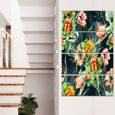 Spring Floral Seamless Pattern Floral Canvas Art Print - 4 Panels