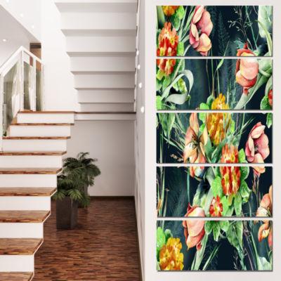 Designart Spring Floral Seamless Pattern Floral Canvas Art Print - 5 Panels